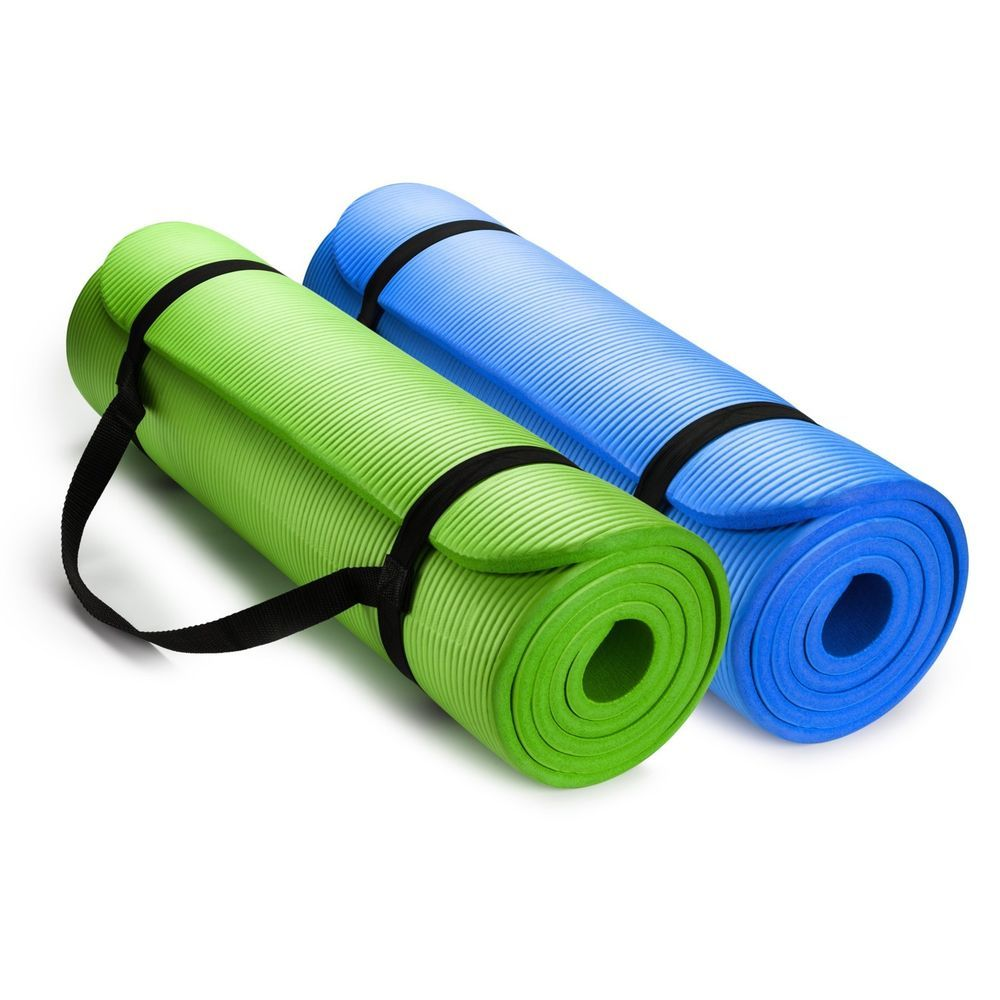 Hemingweigh 1 2 Inch Extra Thick High Density Exercise Yoga Mat With Carrying St 848441038806 Ebay Yoga Mats Best Yoga Mat Reviews Yoga Fitness