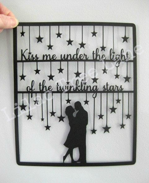 Kiss me under the light paper cutting digital by LilacTreeLane
