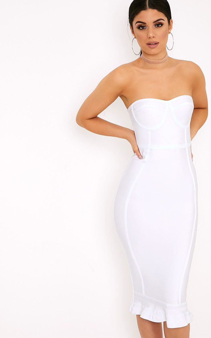 fb27727043 Roxina White Bandage Frill Hem Midi Dress