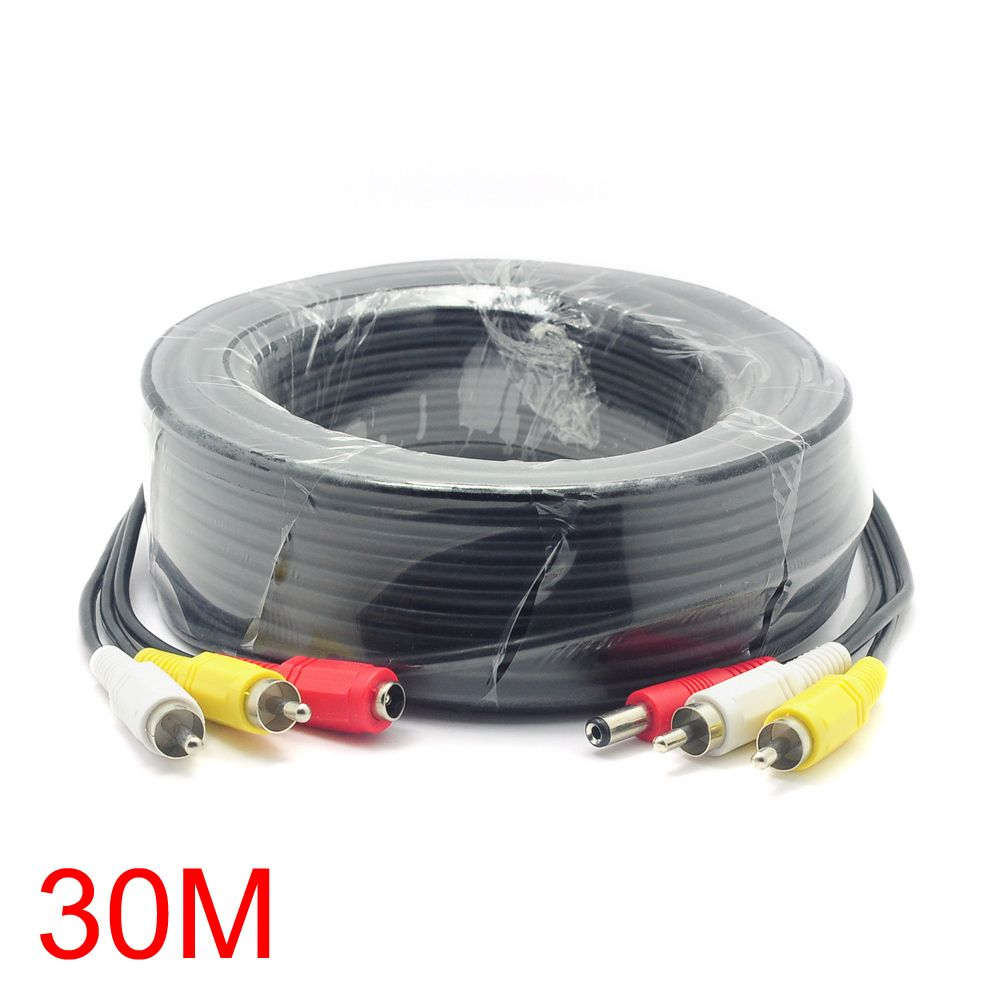 30M/98FT 2 RCA DC Connector Audio Video Power AV Cable All-In-One ...