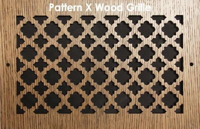 "Wall & Ceiling Wood Vent Grille Pattern ""X"" Design"