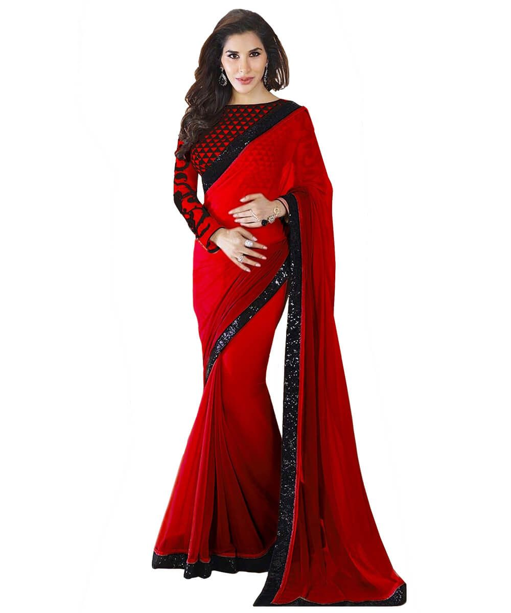 a18a868f5c Red Georgette Saree With Black sequence Embroidry Border (img-2 ...