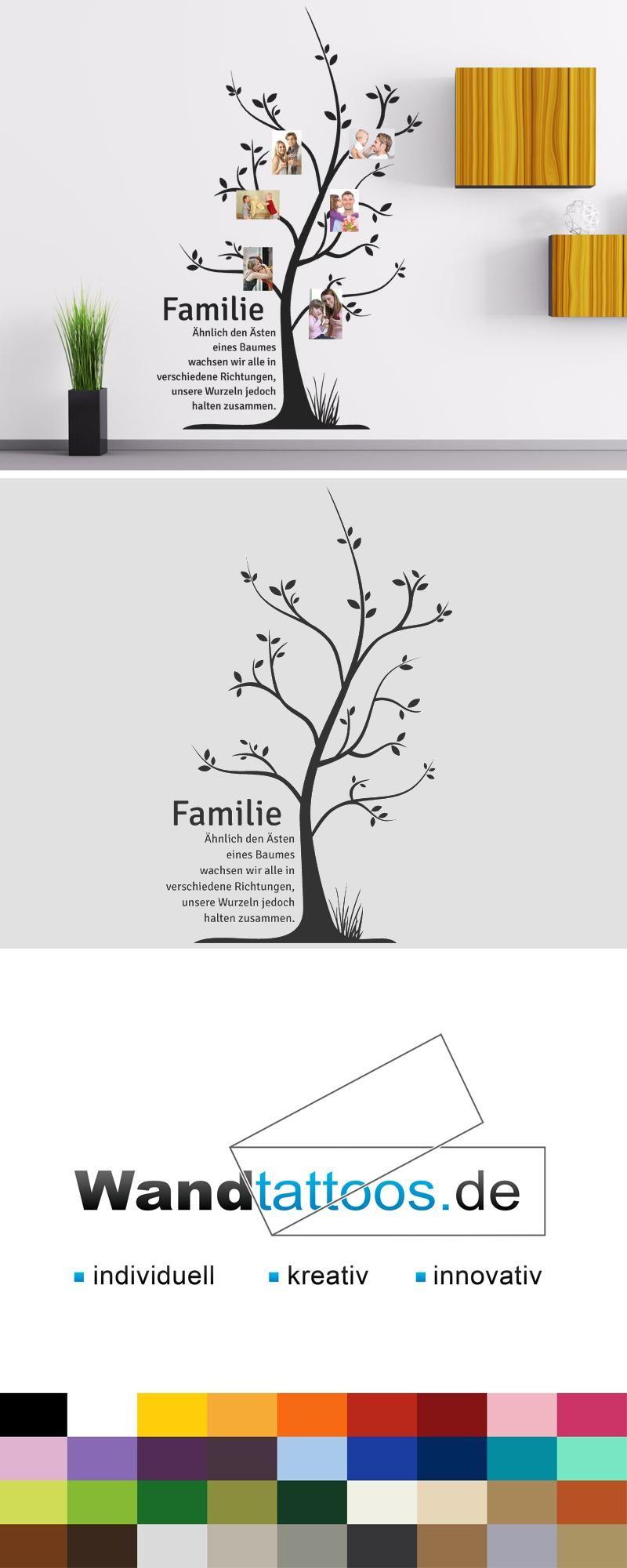 Wandtattoo Familienbaum Mit Fotos Bilderrahmen Wandtattoos