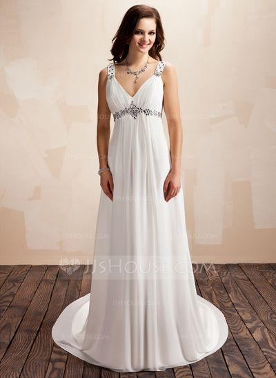 Corte A/Princesa Escote en V Tren de la corte Gasa Vestido de novia ...