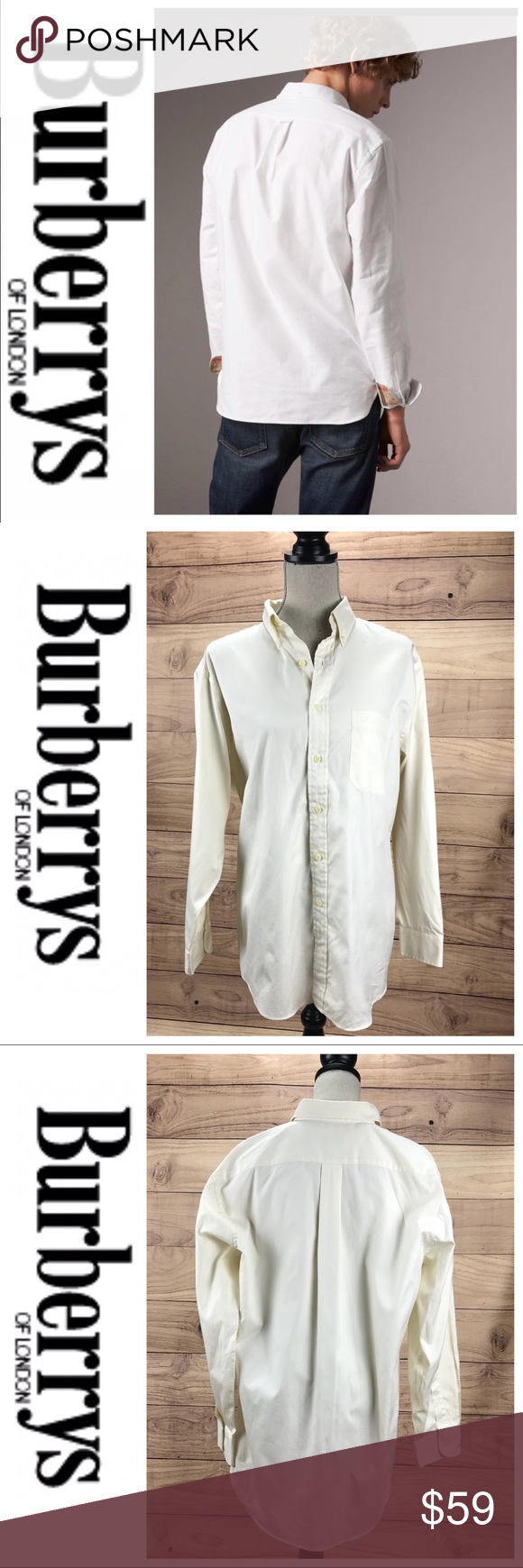 Saleburberrys Mens Ivory Dress Shirt My Posh Closet