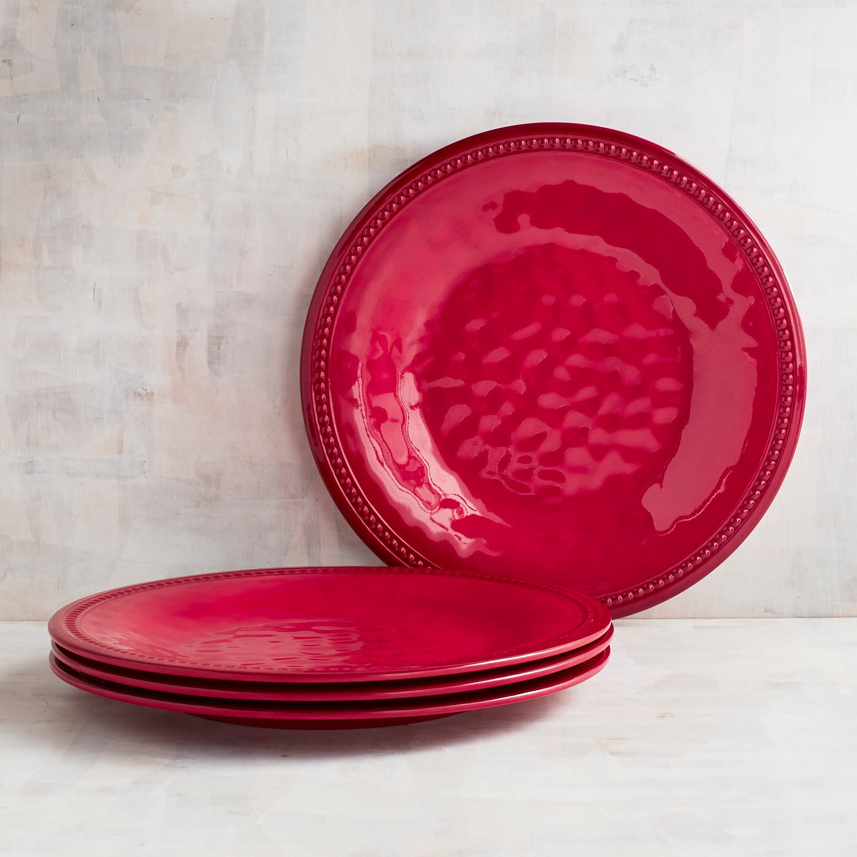 Beaded red melamine dinner plate set of 4