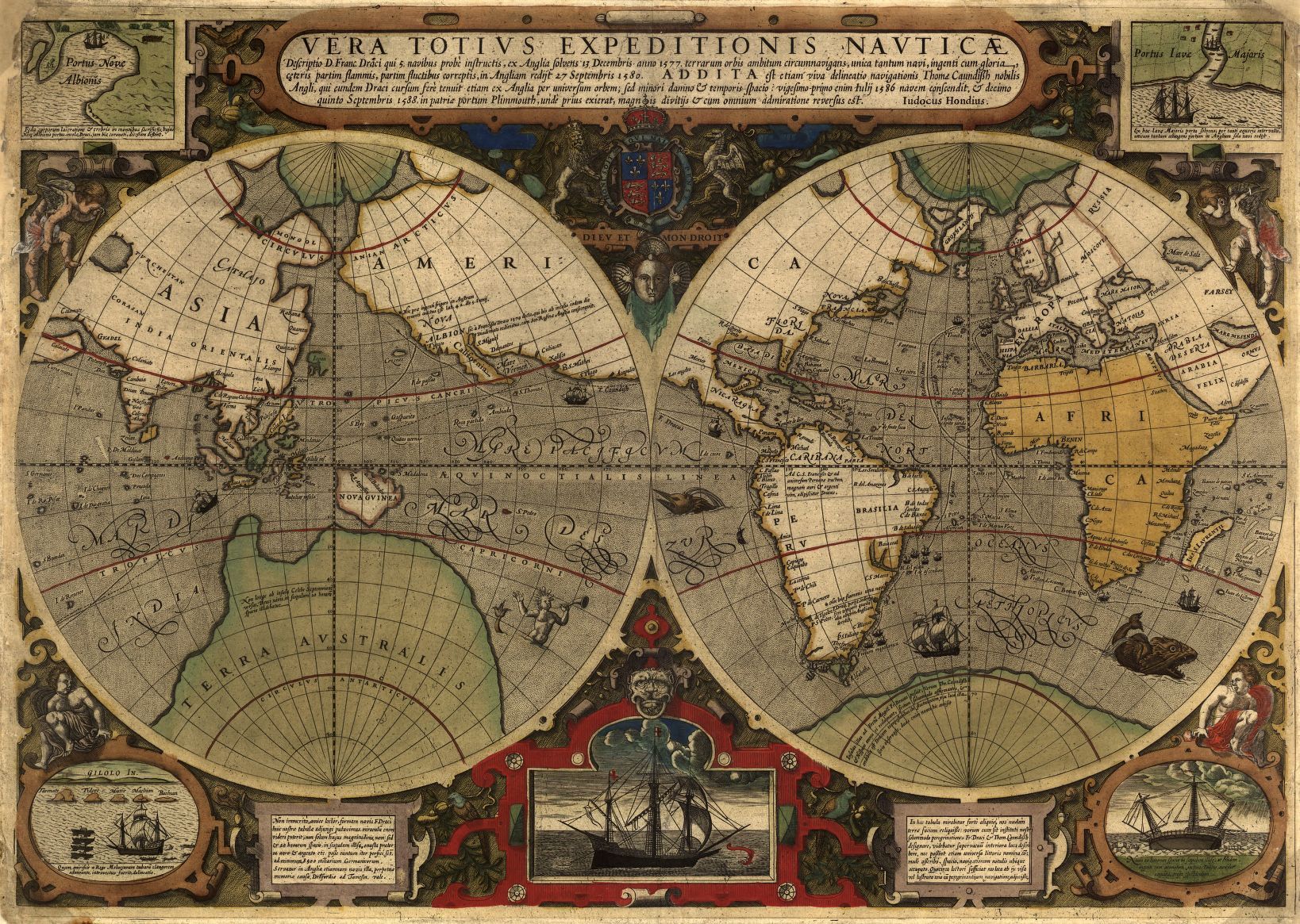 1595 antique old world map antique world maps pinterest 1595 antique world map giclee reproduction unframed or framed in vintage dark burl wood frame custom sizes made in usa by museum outlets antiquemap gumiabroncs Gallery