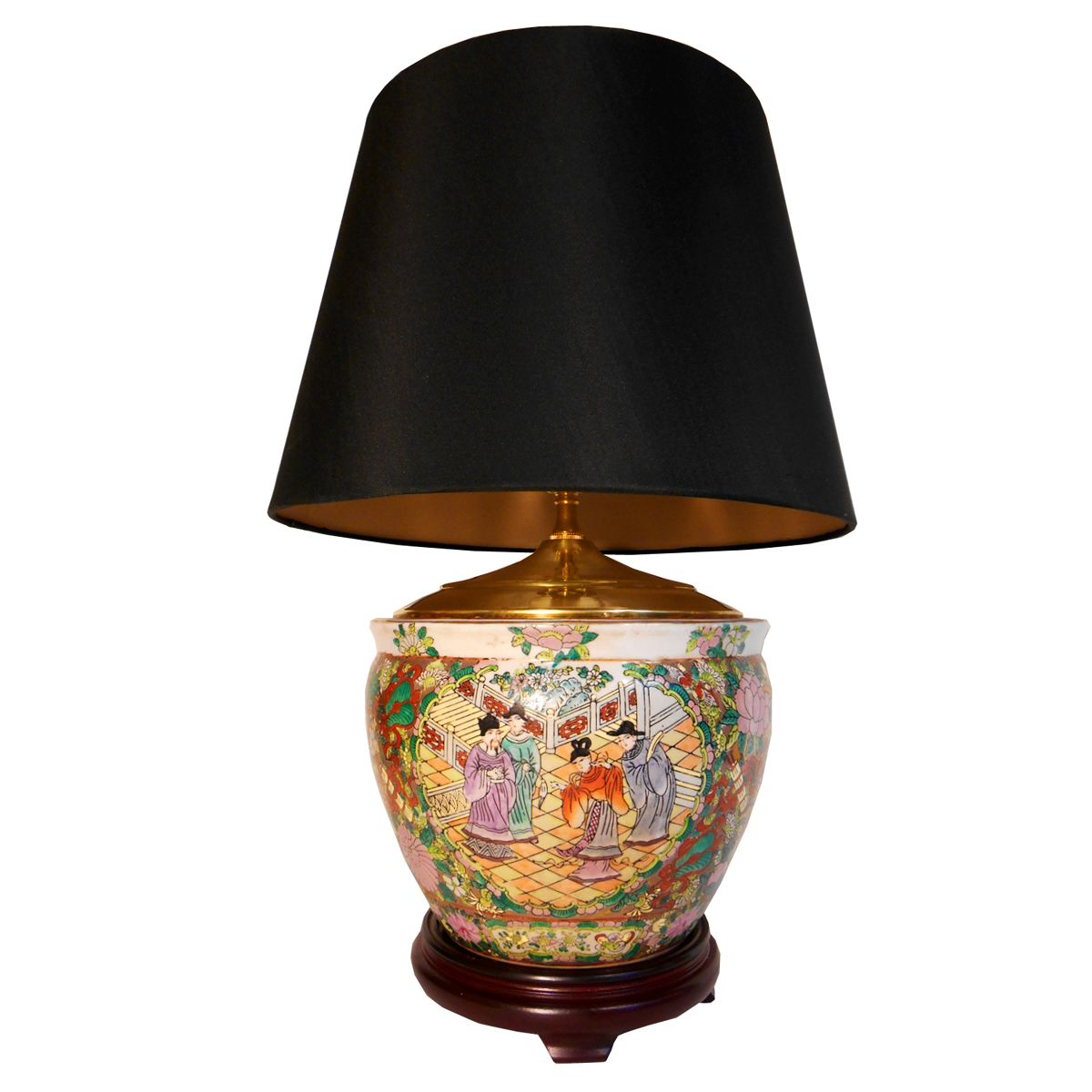 Oriental Furnishings 25 H Chinese Hand Painted Porcelain Rose Medallion Table Lamp With 3 Way Switch Fabric Shade And Woode Oriental Lamp Table Lamp Lamp