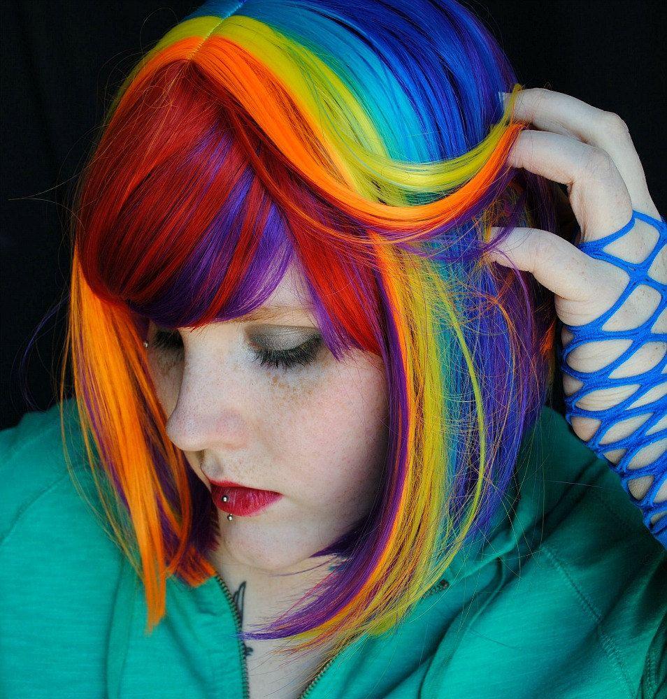 Rainbow magic wig red purple blue yellow pink orange scene
