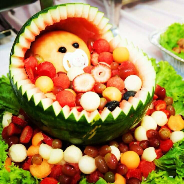 Captivating Watermelon Baby Carriage For Baby Shower · Fruit Basket ...