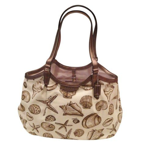 Coach Resort Shell Canvas Print Shoulder Beach Tote Handbag Purse F29063 Online Ping Click On