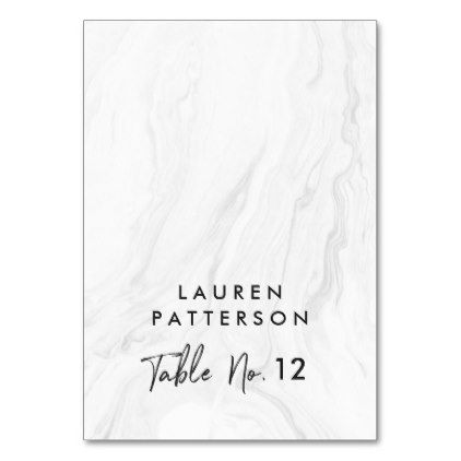 Modern White Marble Script Wedding Place Card Wedding places - place card template