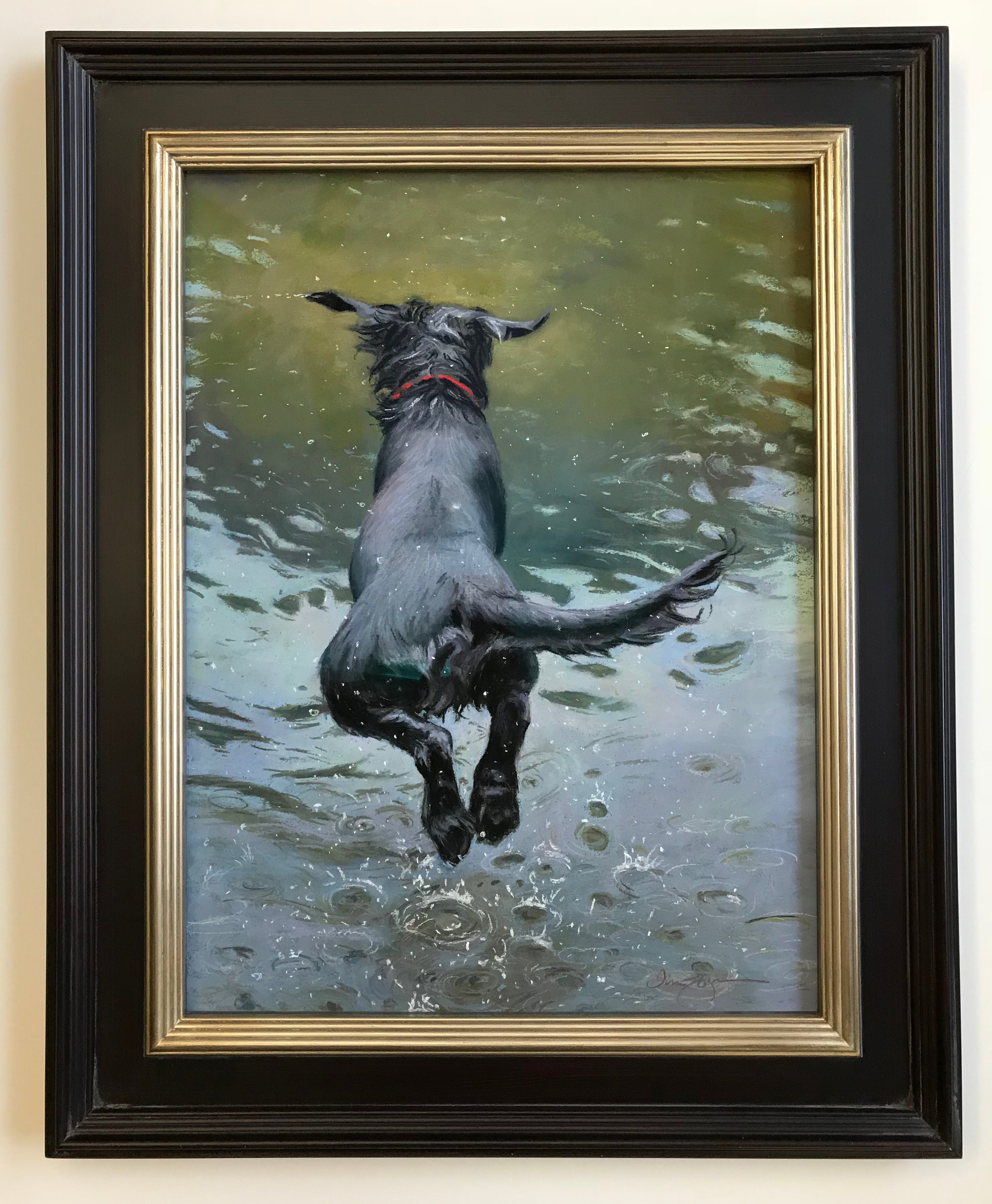 Fearless Lisa Gleim 22 X 16 29 X 23 Framed Inches Pastels On Pastel Board Framed In Black Silver Frame With Museum Glass Do Painting Dog Paintings Art