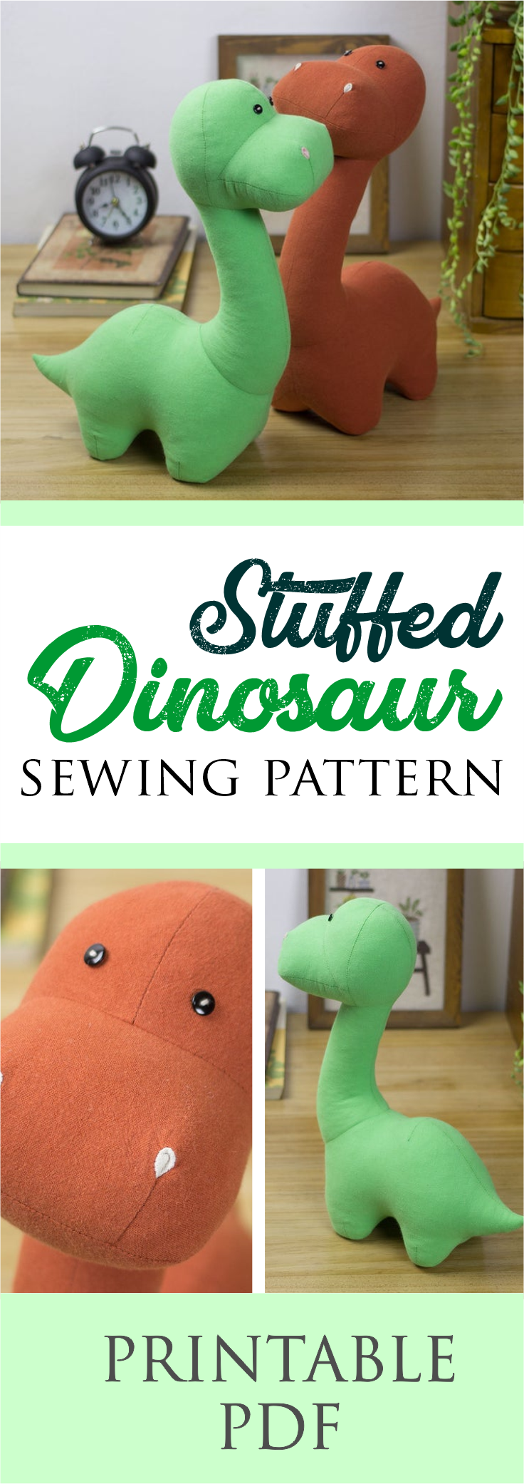 Stuffed Dinosaur Sewing Pattern | Instantly Downloadable PDF