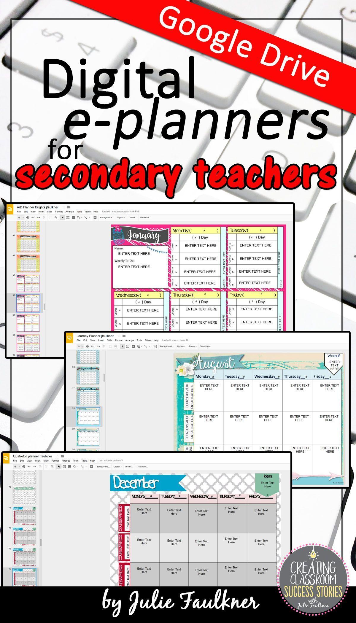 teacher planner secondary middle school high school teacher