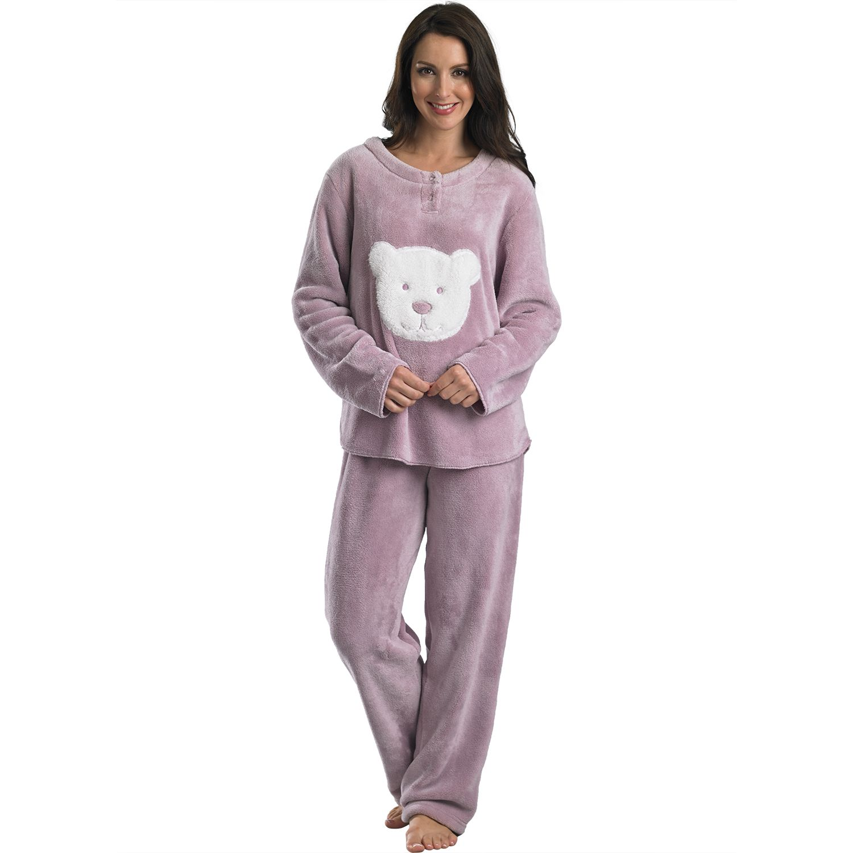Teddy Bear Fluffy Fleece Top Shorts Set Loungewear Women Winter Pyjama Nightwear