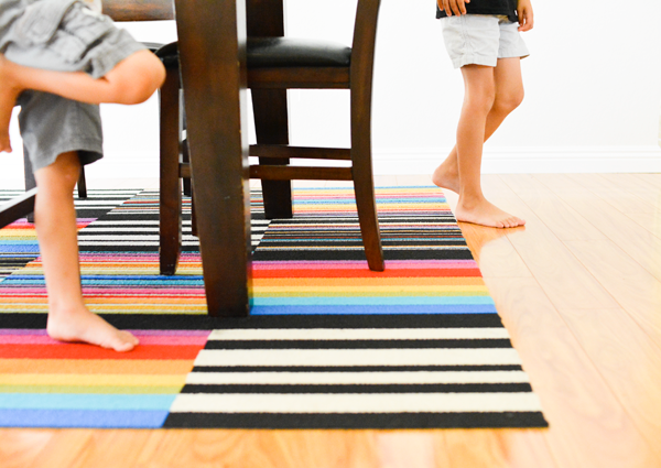 I Adore This Dining Room Rug From FLOR Tiles The Graphic Black And White Stripes