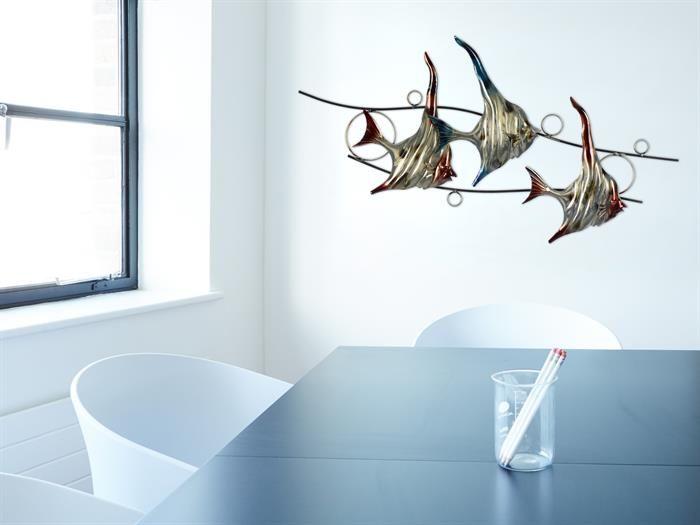 Gilde Korallenfische Metall Wandrelief Wanddeko Wohnzimmer