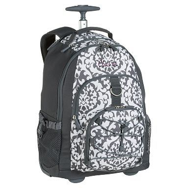Gear Up Gray Damask Rolling Backpack Potterybarn Maxine Wants For School