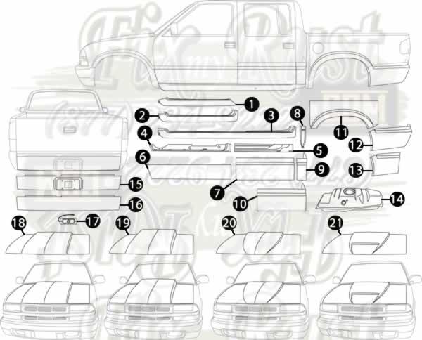 1994 2004 Chevy S 10 Pickup Rust Repair Panels S10 Zr2 Chevy 10 Things