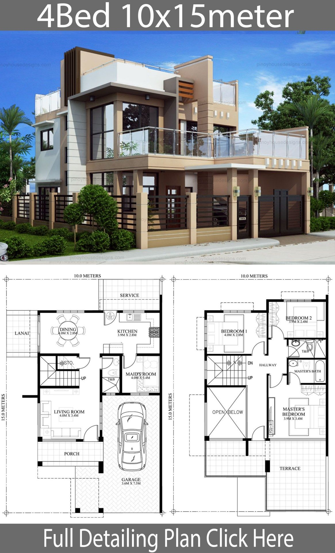 Home Design Plan 10x15m With 4 Bedrooms Home Design With Plansearch House Design Pictures Model House Plan Modern House Plans