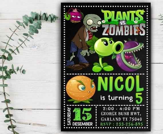 Editable Invitation Plants Vs Zombies Party Supplies