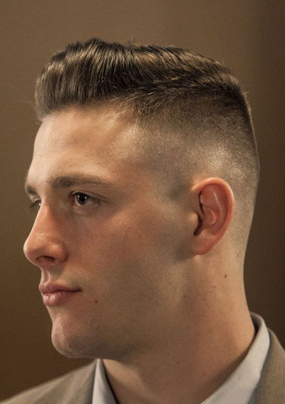 This Medium To High Fade Haircut By David Alexander Of American Haircuts Has A Much Longer Top Styled Int Military Haircuts Men Military Haircut Military Hair