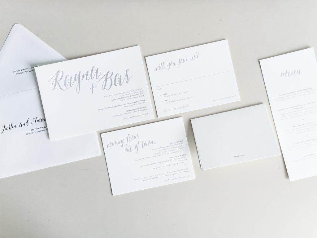 Soft grey wedding colours custom designed letterpress wedding
