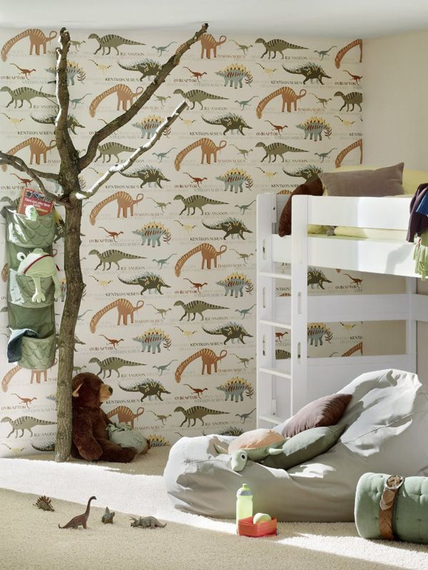 Dinosaur wallpaper natural and green bedroom decor for Dinosaur bedroom ideas boys