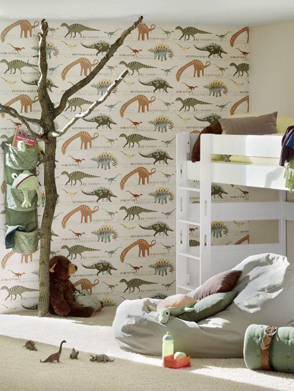Dinosaur wallpaper natural and green bedroom decor for Dinosaur bedroom ideas boys
