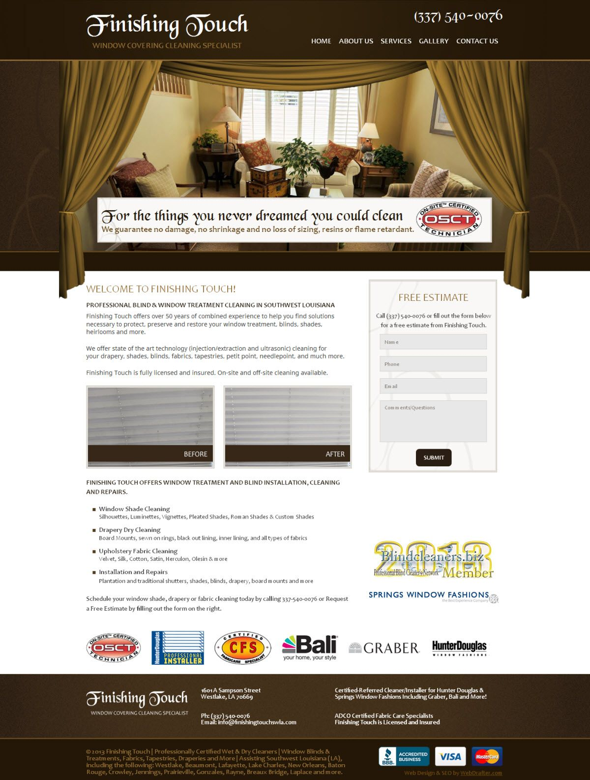 Finishing Touch Web Design By Webdrafter Com Springs Window Fashions Custom Website Design Design