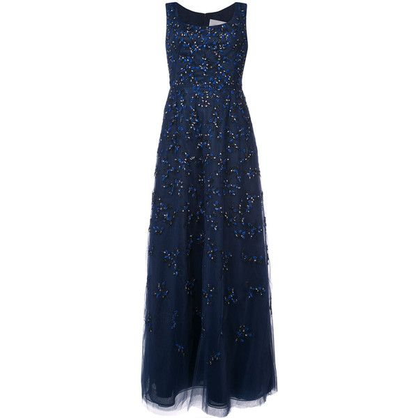 Carolina Herrera embroidered textured gown (213.690 UYU) ❤ liked on Polyvore featuring dresses, gowns, carolina herrera, blue, floral ball gown, floral embroidered dress, floral embroidery dress, sheer maxi skirts and blue evening gown