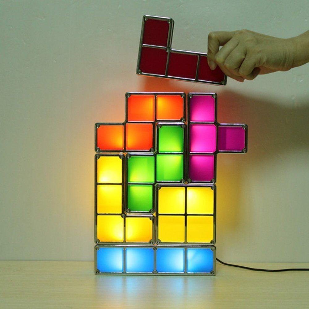 sunix empilable lampe tetris bricolage constructible de style de jeu retro led de bureau amazon fr luminaires et eclairage