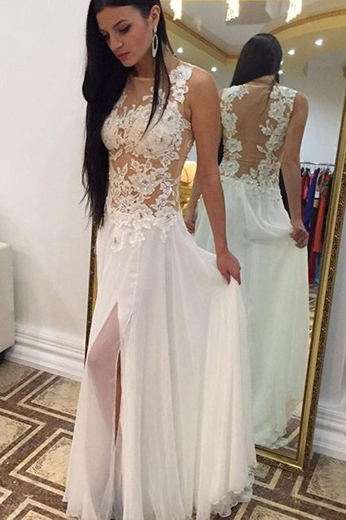 White Prom Dress,White Prom Dresses | Sexy, Split prom dresses and ...