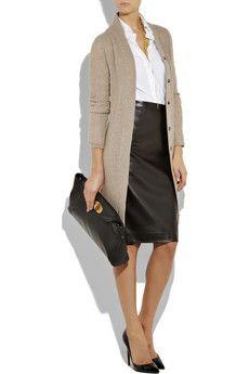 long cardigan, white dress shirt, high-waisted pencil skirt, clutch, black pumps