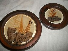 2 Vintage Wooden Pressed Flower Wall Pictures