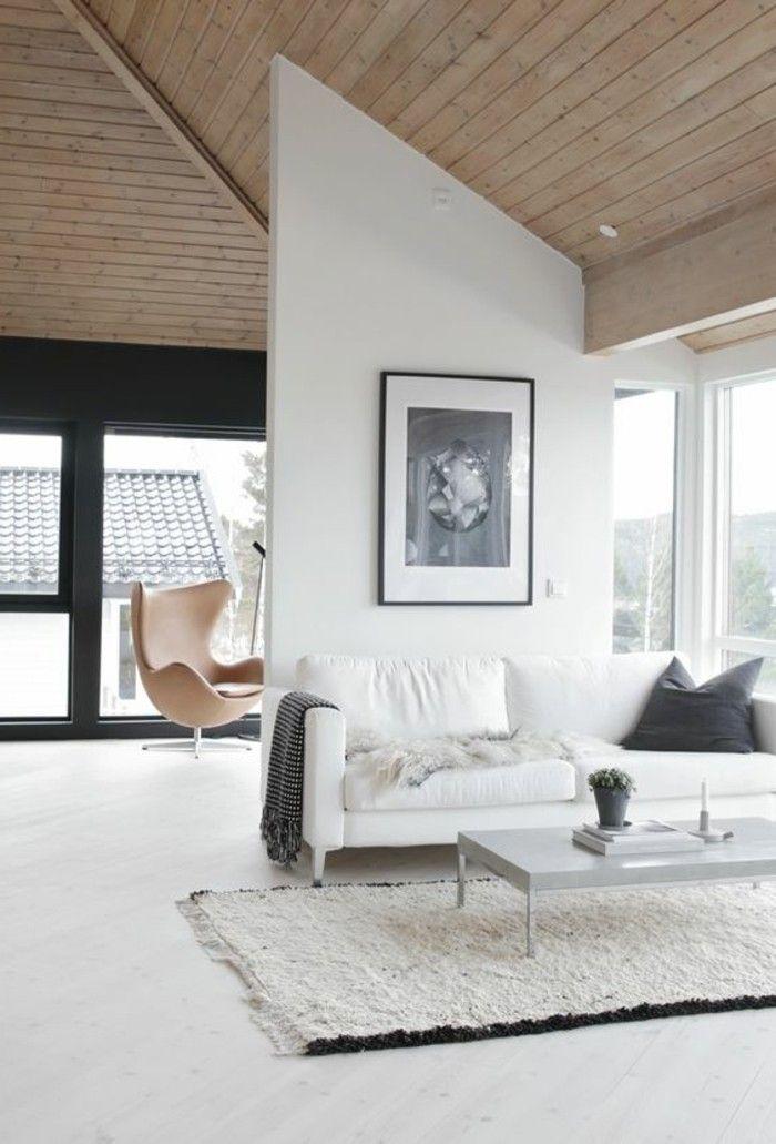Mobile soggiorno moderno in legno, muro divisorio e quadro da parete ...