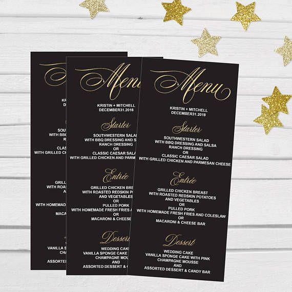 black gold printable wedding menu template elegant calligraphy