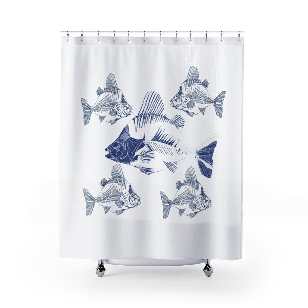 Coastal Navy Blue Fish Shower Curtain Cute Coastal Nautical