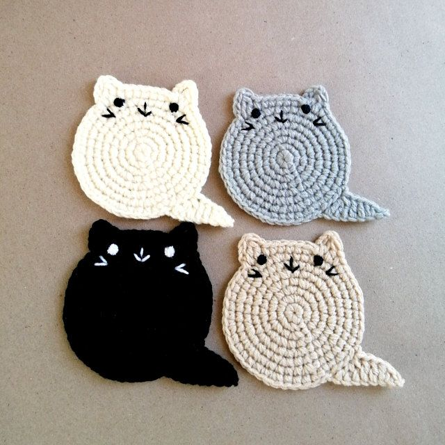 Fat Cat Coasters set, Cat lover gift, Crochet Cat Coaster, Birthday Gift, Mother's day Gift, Housewarming gift, Crazy Cat Lady, under 10 usd