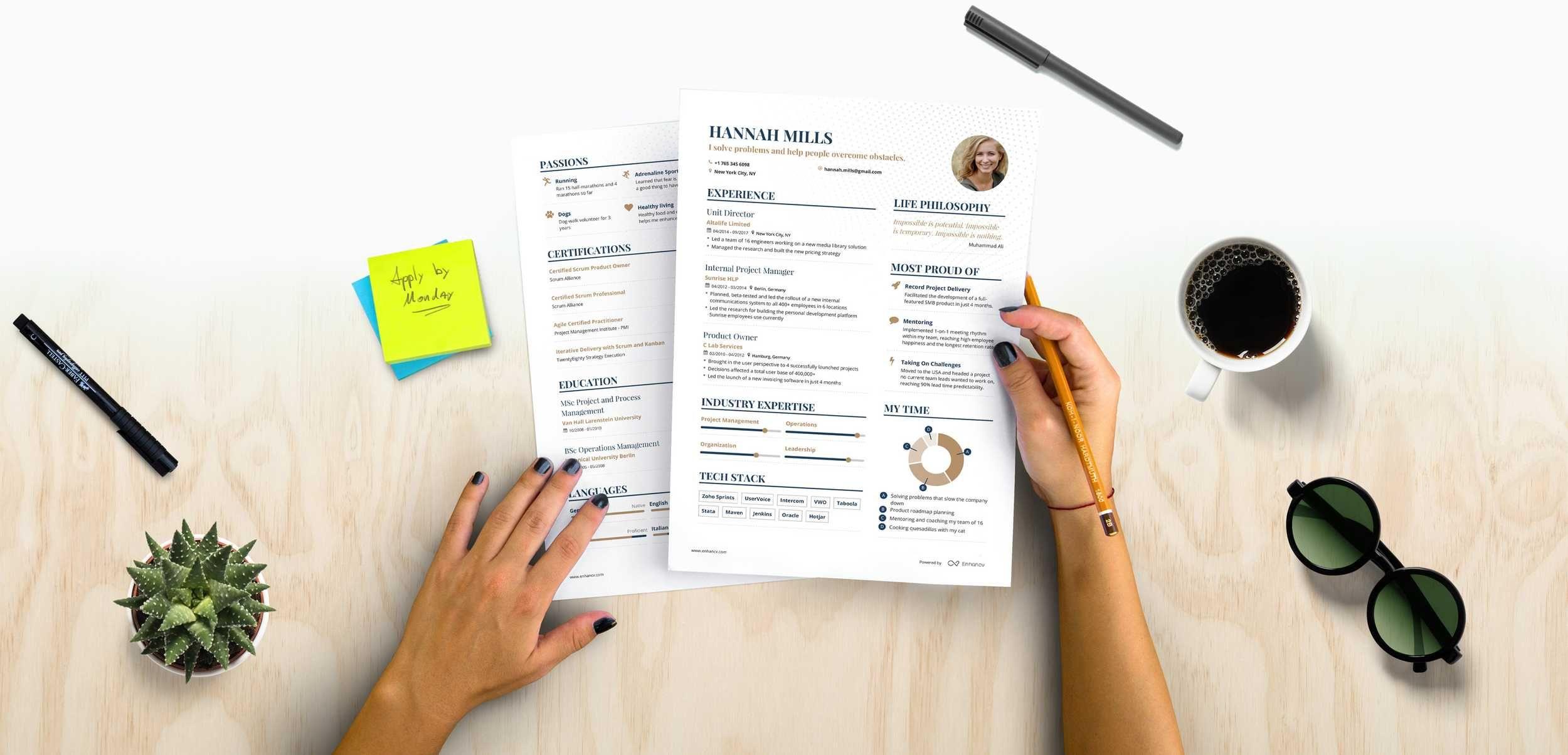 proudly holding resume photo