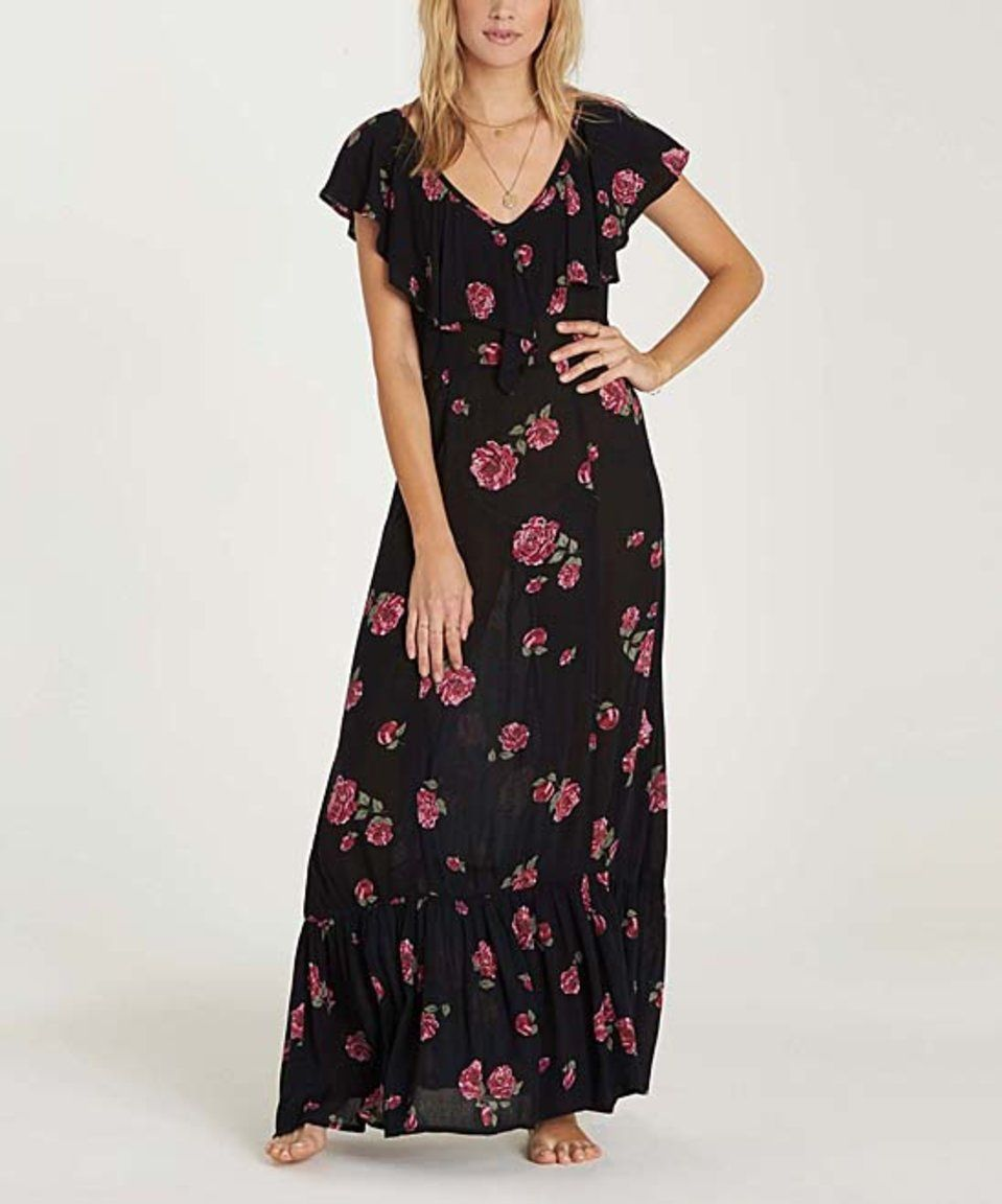 Look What I Found On Zulily Billabong Black Floral Southern Border Maxi Dress By Billabong Zulilyfinds Maxi Dress Ruffled Maxi Dress Frock Patterns [ jpg ]
