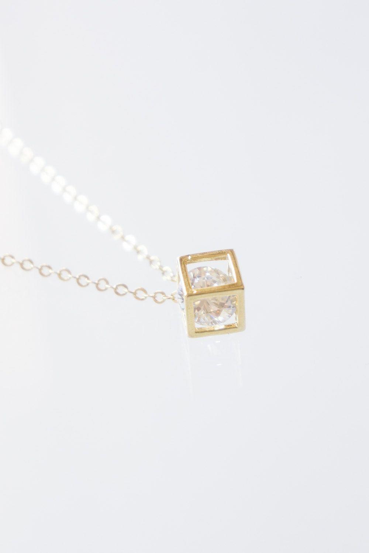 Diamond Necklace Zircon Geometric Minimal Gold Girlfriend Gift Birthday Jewelry