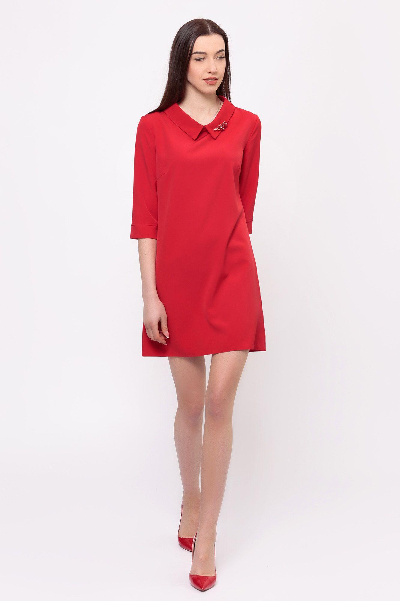 7a3f98ad994 Красное платье Elizabeth с рукавами 3 4 и отложным воротником Garne ...
