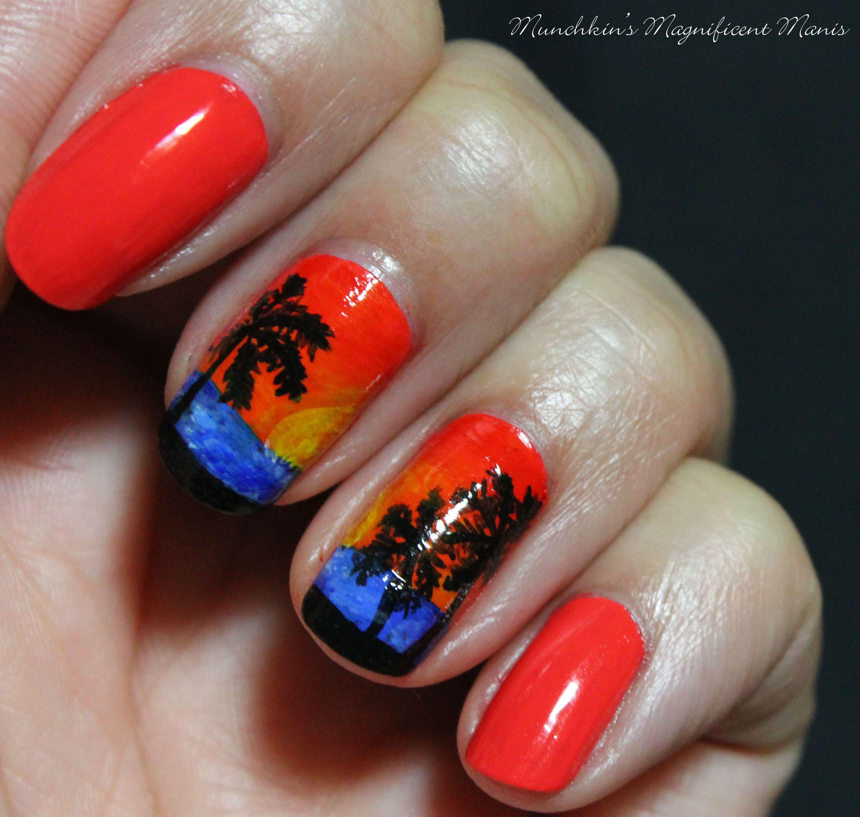 Tropical Sunset Nail Design Munchkins Magnificent Manis Nail