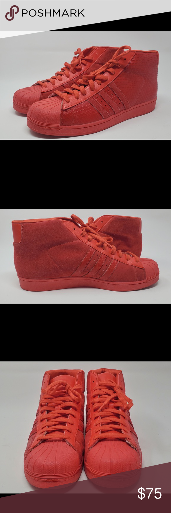Shell toe,red adidas high tops | Red