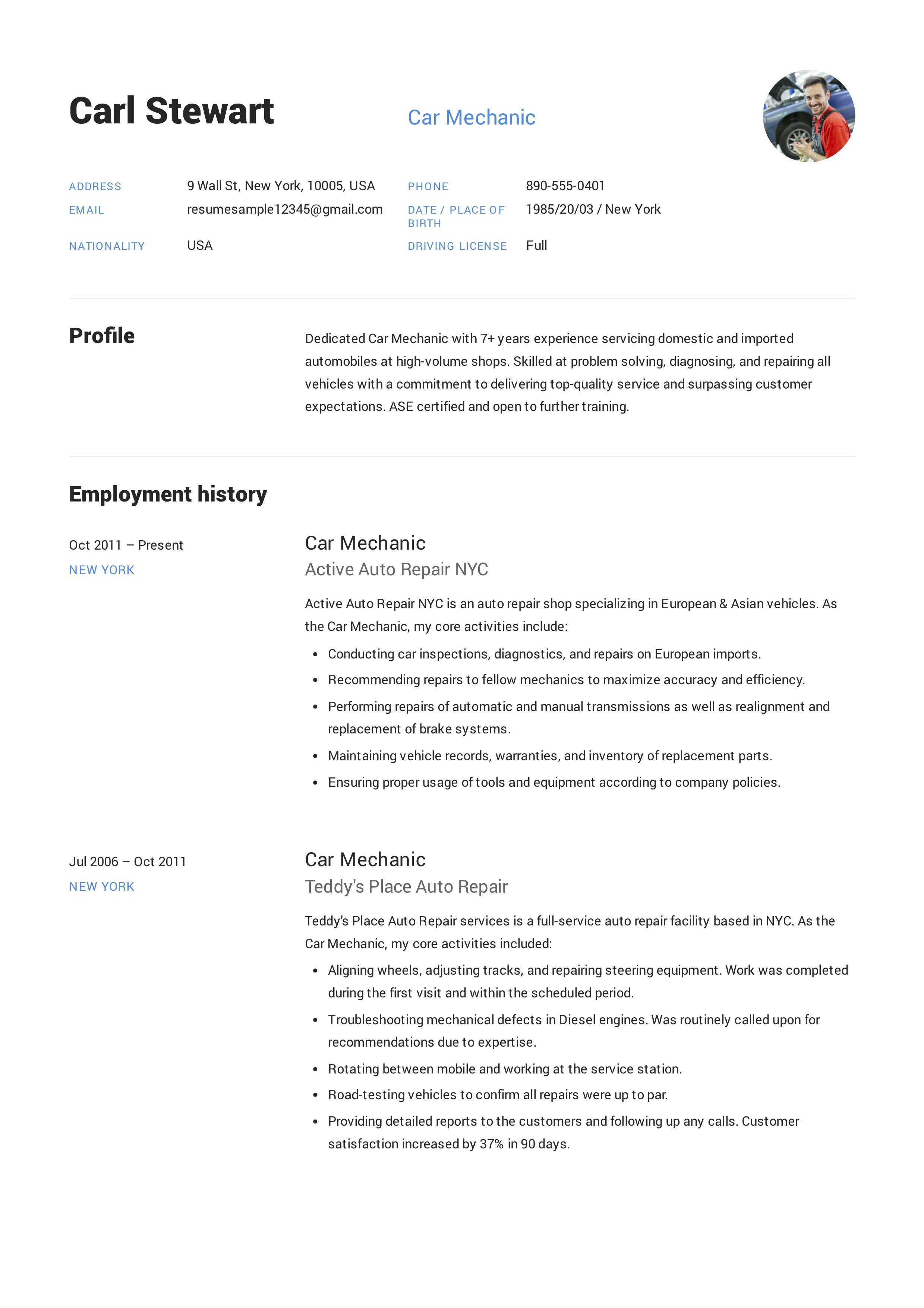 free car mechanic resume sample  template  example  cv