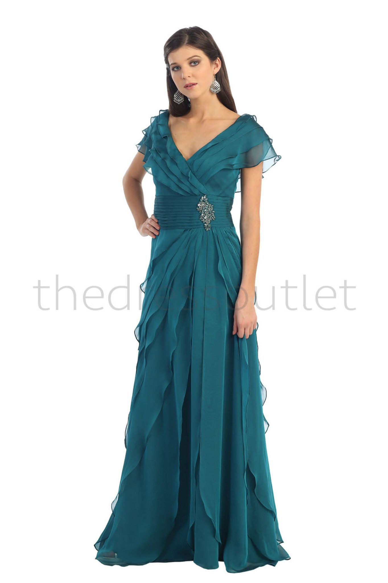 Modest Elegant Long Teal Mother of the Bride Dress Plus Size Formal ...