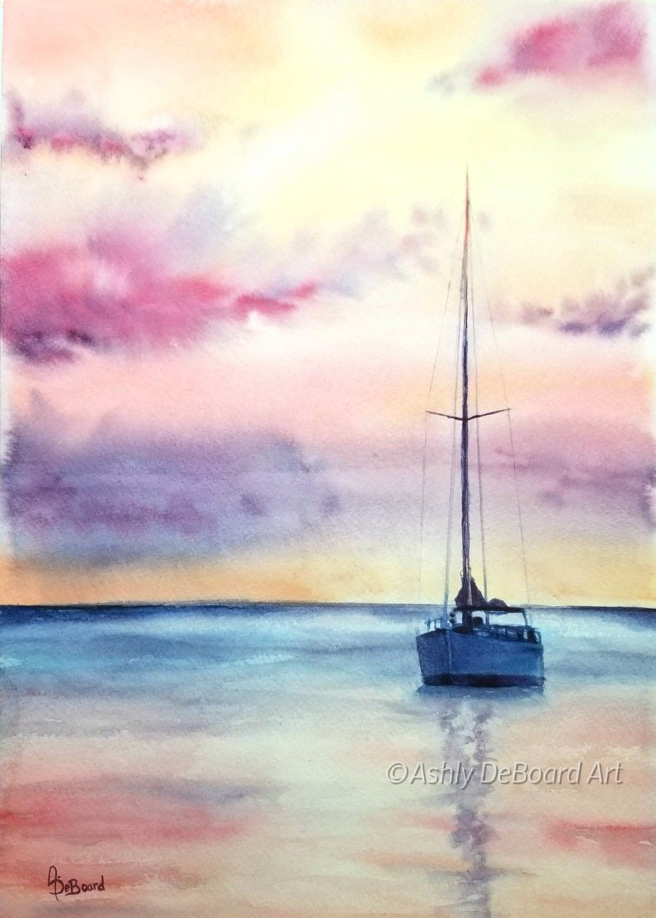 Watercolor Sunset Sailboat Watercolor Art Landscape Watercolor