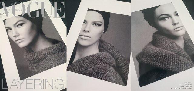 Layering by Steven Meisel; October 2014; Karlie Kloss, Lexi Boling, and Sasha Pivovarova
